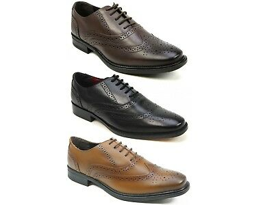 Mens Shoeprimo Leather Brogue Smart Formal Lace Up Oxford Shoes Size 7-11 New