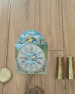 U.C.W Movement Dial Friese Tailed Dutch Wall Clock Pendulum Chains Weights Parts
