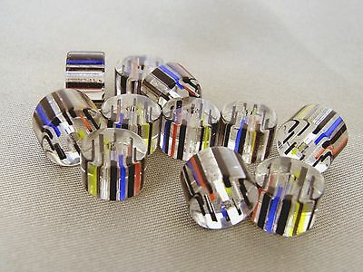 30grams 9-10mm CLEAR MULTI-COLOR CIRCULAR CYLINDER GLASS BEADS LOT G1846