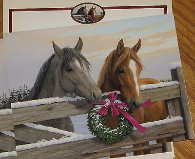 Persis Clayton Weirs Artwork Pasture Gate Horses 2006 Lang Christmas Cards 4ct
