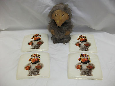 Vintage Wombles ~ 4 Large Coasters & Rare Large Flocked HCF Figure Toy