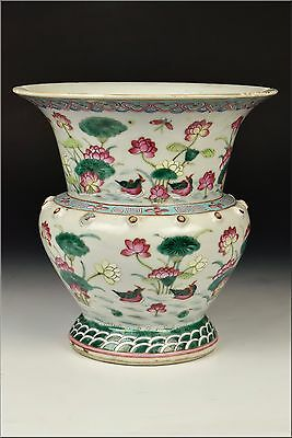 19th Century Chinese Famille Rose Porcelain Vase w/ Ducks