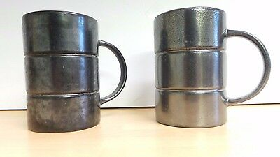 [2] Beswick England lustre ware pewter coloured mugs / small tankards no 2026