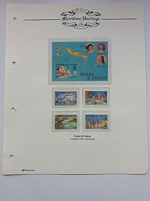 1 x MINIATURE & 4 x  STAMPS. 500th ANNIVERSARY OF CHRISTOPHER COLUMBUS.  1992.
