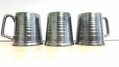 [3] Beswick England lustre ware pewter coloured pottery tankards Pattern 987-2