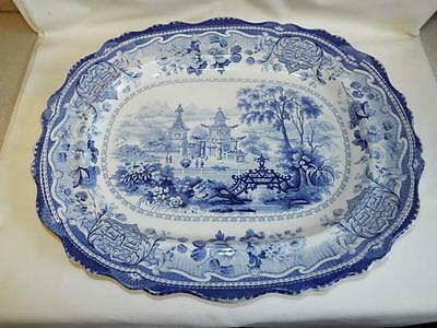 Beautifual antique blue printed platter in Chinese Pagoda & Bridge pattern.