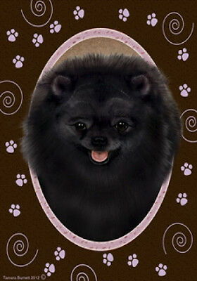 Large Indoor/Outdoor Paws Flag - Black Pomeranian 17255