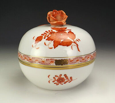 Vintage Herend Hungarian Porcelain - Red Chinese Bouquet Powder Bowl - Lovely!