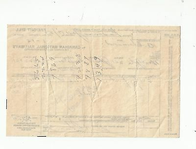 CANADIAN NATIONAL RAILWAYS FREIGHT BILL CNR 1950's  CHARGES ARTICLES TRANSPORTED