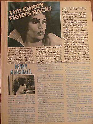 Tim Curry, Rocky Horror Picture Show, Penny Marshall, Full Page Vintage Clipping