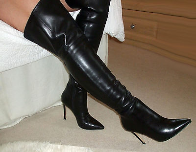 Superb Glossy Soft Leather High Heel Overknee Over Knee Thigh Boots 6 39 8.5