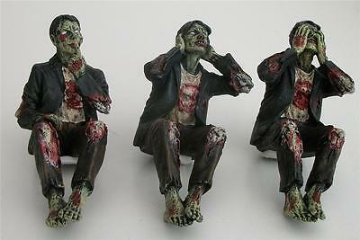 Nemesis Now 3 x ZOMBIE SHELF SITTER FIGURES SEE NO HEAR NO SPEAK NO EVIL Gothic
