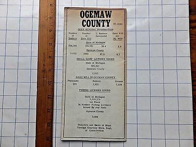 ca.1950 Ogemaw County, Michigan Sportsman's Map. Large, fold-out. Local ads.