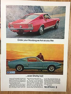 RARE 1967 FORD Mustang / Shelby  Vintage A4 Colour Car Advert