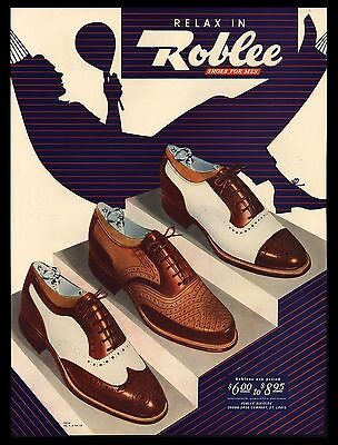 "Original1946 ""roblee  Shoes"" Relax In Hammock Vintage Art Print Ad"