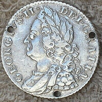 17?? KING GEORGE11 BRITISH  SILVER SHILLING COIN (date holed)