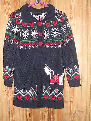 ***MM Girls George Red/Navy Dog Winter Cardigan/Jacket Age 4-5yrs***