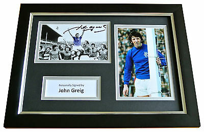John Greig Signed A4 FRAMED Photo Autograph Display Rangers See PROOF & COA