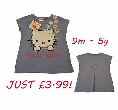 Girls Kids Baby T-Shirt Top Short Sleeve Casual Hello Kitty 9 Months-5 Years