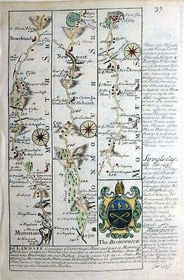 WALES  MONMOUTHSHIRE  GLAMORGANSHIRE BY EMANUEL BOWEN GENUINE ANTIQUE  c1720