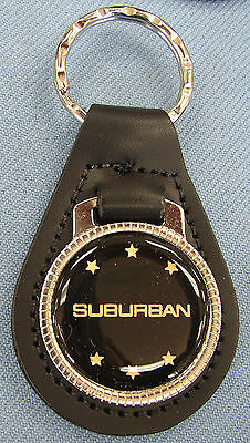 Black Chevy SUBURBAN Black Leather Silver Keyring Chevrolet 1935 1936 1937 1938