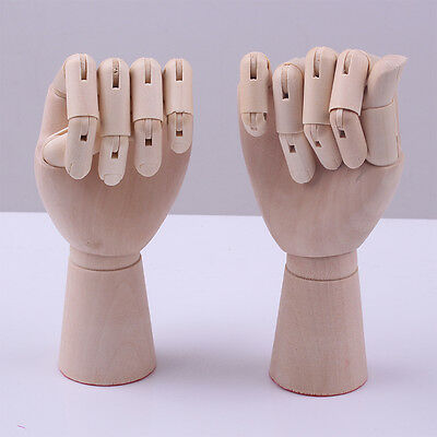 "Pair 10"" Artists Wooden Female Hands Right Left Lay Figure Sketch Drawing Wh1123"