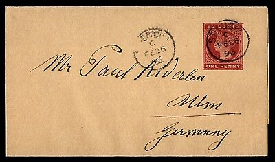 1895 St Lucia 1 Penny Wrapper To Ulm Germany
