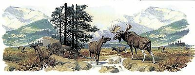"1 Moose Forest River Mountain Wrap  8"" X 3"" Waterslide Ceramic Decal Xx"