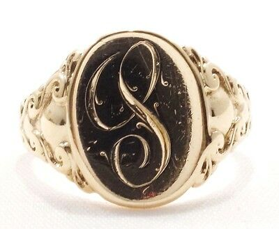 10k Solid Gold Signet Ring Oval Design Personalized Custom Vintage Free Shipping