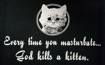Evertime You Masterbate God Kills A Kitten Black Canvas Back Patch