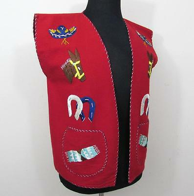 Mexican embroidered Red Wool Vest - Unisex- Vintage - 42