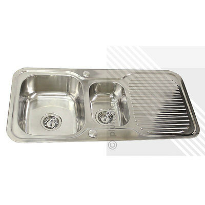 Stainless Steel Kitchen Sink Reversible 1.5 Bowl with Drainer & Overflow