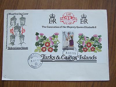 TURKS & CAICOS 25th ANNIV $2:50 M/S CORONATION COVER - SPECIAL HANDSTAMP