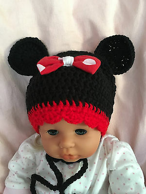 Baby Crochet Hat Minnie Mouse Inspired Black Red 39-41 cm approx.3-9 m