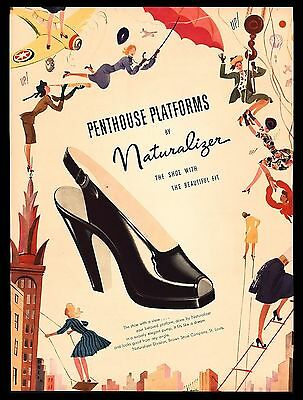 "Original 1946 ""naturalizer"" Penthouse Platforms Women's Shoes Art Print Ad"