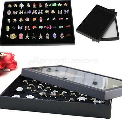 Display Box Fashion Ring Organizer Case Holder Storage Jewelry 100 Slot 2016