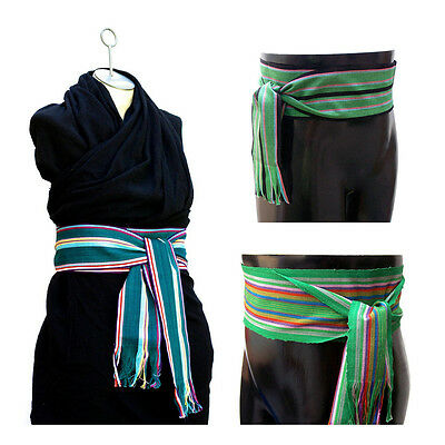 Green Sash - Woven Belt - Ren Faire Clothing - LARP Costumes - Striped 3 CHOICES