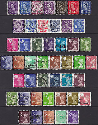 46 Different GB QEII 1958-1998 Mixed Regional Definitive Used Stamps