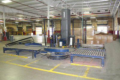"Lantech Q-Auto Automatic Stretch Wrap Machine 80"" Diameter Table Roller Conveyor"