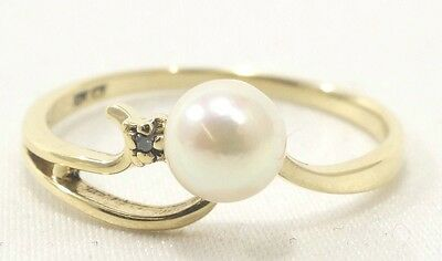 10k Solid Gold Ring Pearl & Diamond So Elegant Classic Beauty Free Shipping