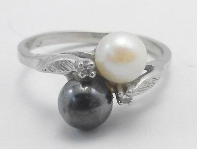 10k Solid Gold Ring Double Pearl & Diamond Tahitian Can Be Sized Free Shipping