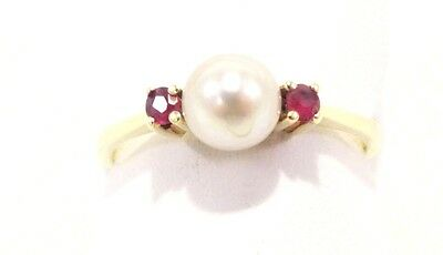 14k Solid Gold Ring Pearl Pink Topaz Great Lustre Can Be Sized Free Shipping