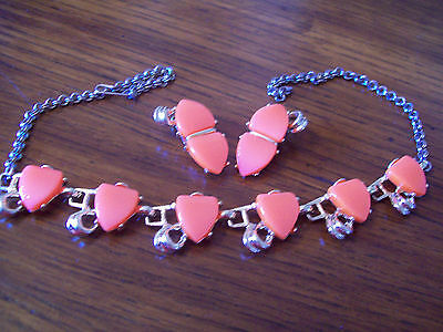 Coral Necklace and Clip-On Earrings