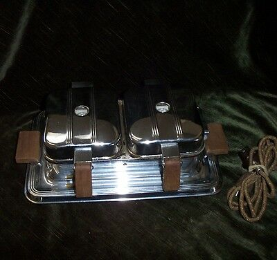 """Vintage Manning Bowman Double Chrome Waffle Iron  40""""s Cord Included"""