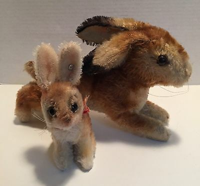 2 Vintage Steiff Mohair Rabbits w/Ear Buttons Small Bunny w/Articulated Head