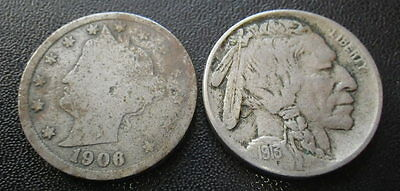 .. United States 1906 & 1913 Nickels (VF-gFine)