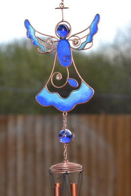 Blue Stained Glass Angel Hanging Suncatcher Mobile Wind Chime Garden Home