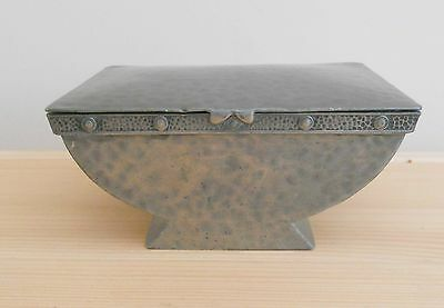"Antique J. & R. Griffin Art Deco Hammered Pewter Box ~ 4.5"" X 3.25"" X 2"""