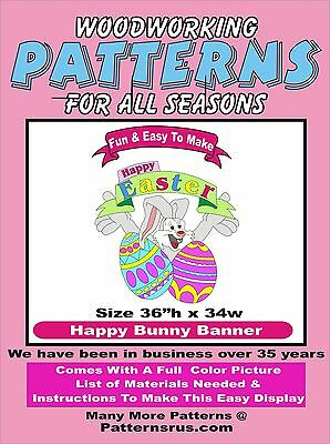 Happy Easter Banner E208 WOODWORKING PATTERN Plan Craft Yard Art