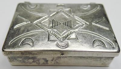 Vintage Navajo Signed Traditional Hand Stamped Sterling Silver Medicine Pill Box